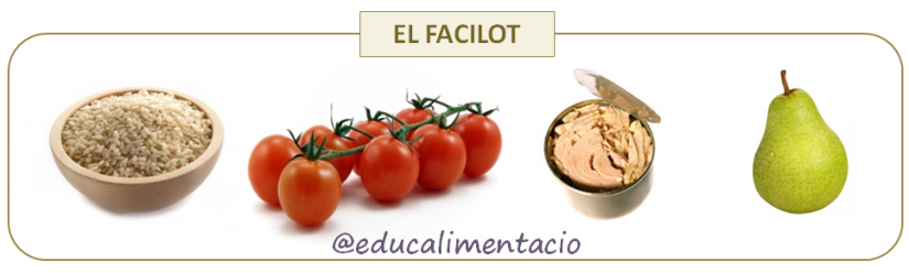 Amanida d'arròs integral (farinaci), tomàquet (hortalissa) i tonyina (proteic) en oli d'oliva (greix) i una pera (fruita) per a les postres